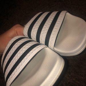 Women's adidas slides! Black and white